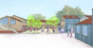 contemporary vernacular housing green courtyard sketch