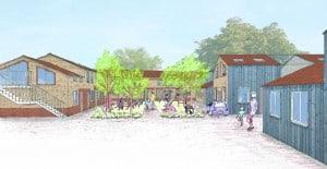 contemporary vernacular housing green courtyard sketch